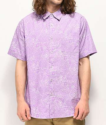 RIPNDIP Nermal Line Camo Purple Short Sleeve Button Up Shirt