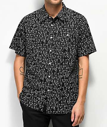 RIPNDIP Nermal Tonal Black Button Up Shirt