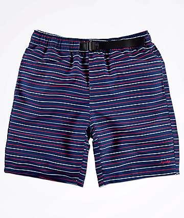 RIPNDIP Nermal shorts azul marino y rojo con cinturón