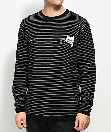 RIPNDIP Peaking Nermal Black Long Sleeve Striped Knit T-Shirt