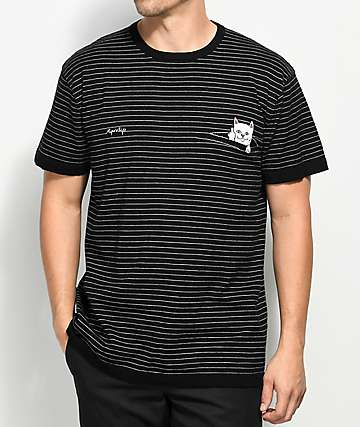 RIPNDIP Peaking Nermal Black Striped Knit T-Shirt