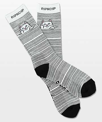 RIPNDIP Peeking Nermal Black & White Crew Socks