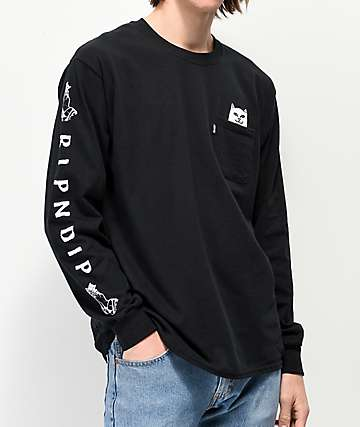 RIPNDIP Peeking Nermal Black Long Sleeve T-Shirt