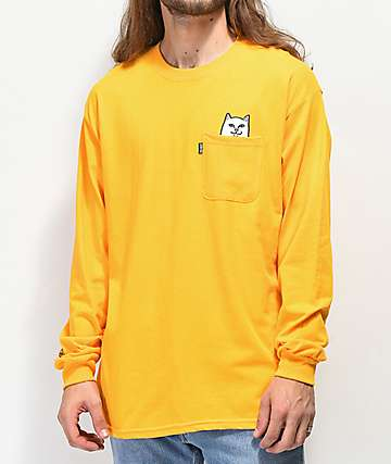 a1664bac611c48 RIPNDIP Peeking Nermal Gold Long Sleeve T-Shirt