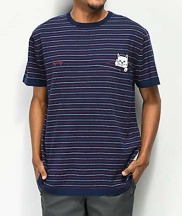 RIPNDIP Peeking Nermal Navy Stripe T-Shirt