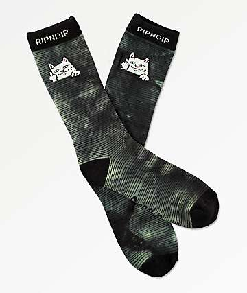 RIPNDIP Peeking Nermal Swamp Dye Crew Socks
