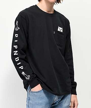 RIPNDIP Peeking Nermal camiseta negra de manga larga 1421cfc98a629