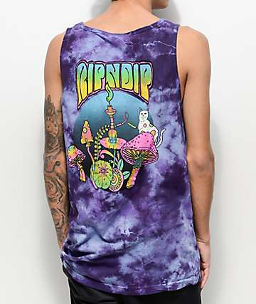RIPNDIP Psychedelic Blue Acid Wash Pocket Tank Top