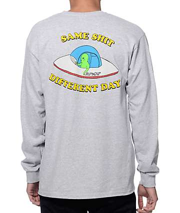 RIPNDIP Same Shit Different Day Heather Grey Long Sleeve T-Shirt