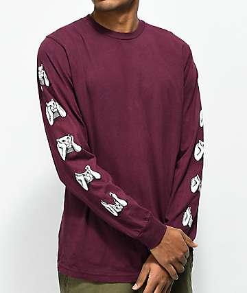 RIPNDIP Stoner Burgundy Long Sleeve T-Shirt