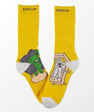RIPNDIP Therapy Yellow Crew Socks