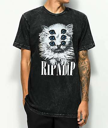 RIPNDIP Triplet Black Crystal Wash T-Shirt