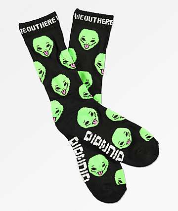 RIPNDIP We Out Here Black Crew Socks