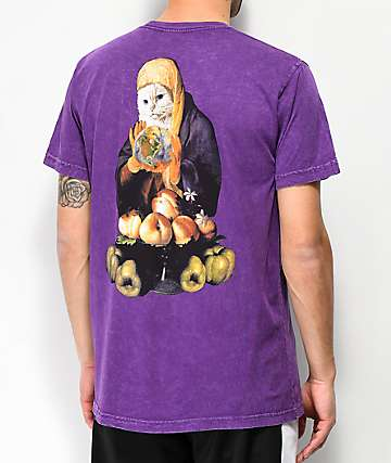 RIPNDIP World On Fire Purple Washed Pocket T-Shirt