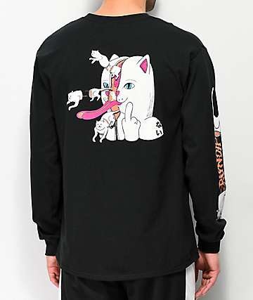 RIPNDIP Zipper Face Black Long Sleeve T-Shirt