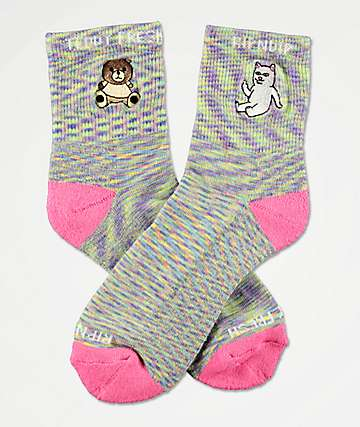RIPNDIP x Teddy Fresh Lavender & Pink Speckled Crew Socks