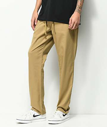 RVCA AT Dayshift Elastic Waist Khaki Pants