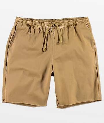 RVCA At Dayshift Khaki Elastic Waist Shorts