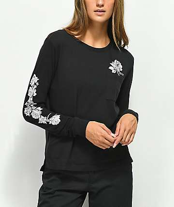 RVCA Blow Roses Black Long Sleeve T-Shirt