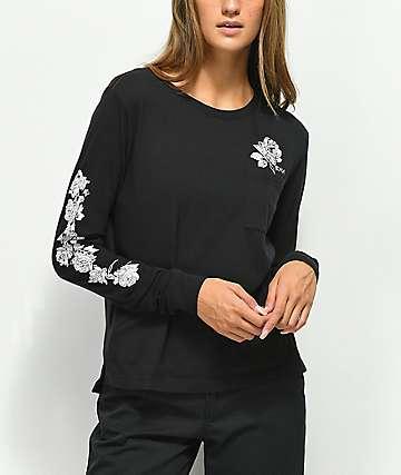 RVCA Blow Roses Black Long Sleeve T-Shirt