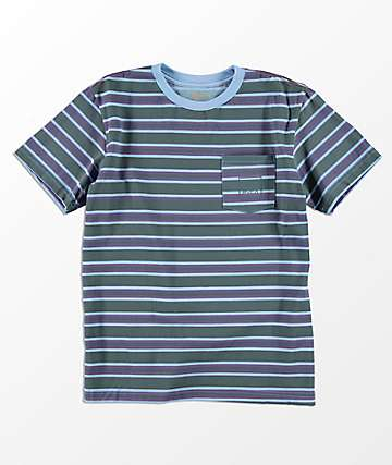 RVCA Boys 5 Stripe Antique Blue T-Shirt