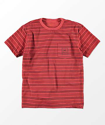 RVCA Boys 5 Stripe Antique Red T-Shirt