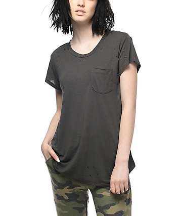 RVCA Braxxon Destructed Grey Pocket T-Shirt