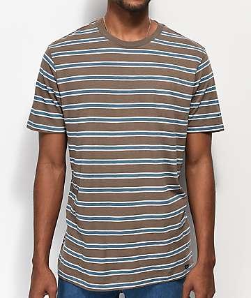 RVCA Brong Brown, White & Blue Striped T-Shirt