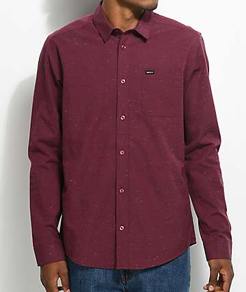 RVCA Casey Burgundy Woven Button Up Shirt