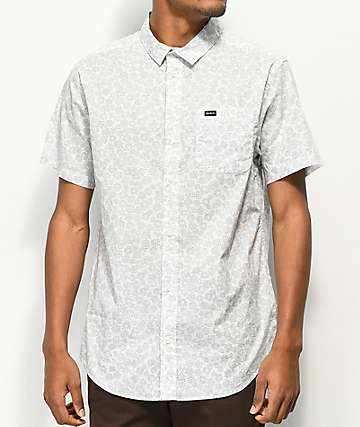 RVCA Cleta Antique White Short Sleeve Button Up Shirt