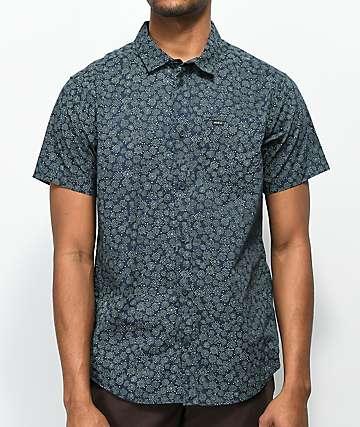 RVCA Cleta camisa de manga corta en azul marino y color menta
