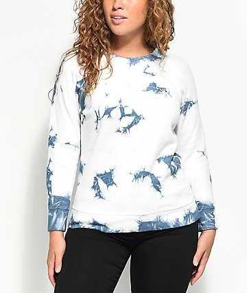 RVCA Clouded Fleece Blue Crew Neck Sweatshirt