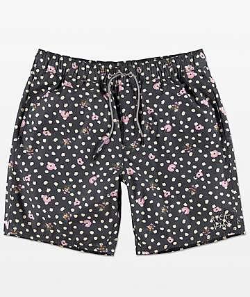RVCA Dahlia shorts de baño con pretina elástica en azul marino floral