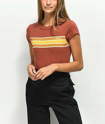 RVCA Day Stripe Henna camiseta roja