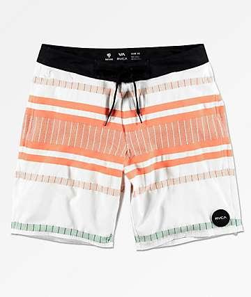 RVCA Elliot shorts de baño de rayas en blanco, naranja y azul