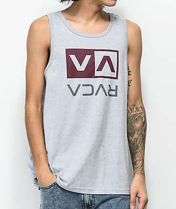 RVCA Flip Box Athletic Grey, Burgundy & Slate Tank Top