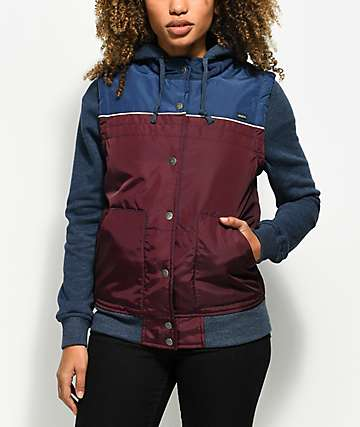 RVCA Former Burgundy & Navy 2Fer Hooded Jacket
