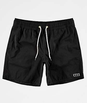 RVCA Gerrard Black Elastic Waist Board Shorts