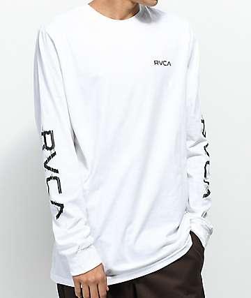 RVCA Glitch White Long Sleeve T-Shirt