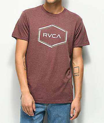 RVCA Hexest Heather Burgundy T-Shirt