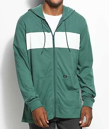 RVCA Line Up Green & White Zip Up Hoodie