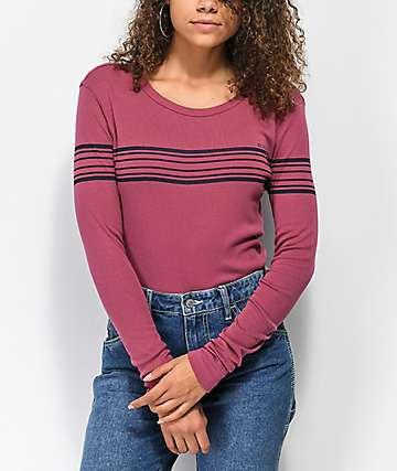 RVCA Liner Note Maroon Long Sleeve T-Shirt