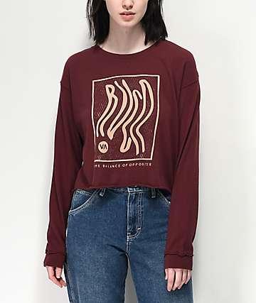 RVCA Longshore Magenta Fade Crop Long Sleeve T-Shirt