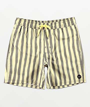 RVCA Montague Black & Cream Striped Board Shorts