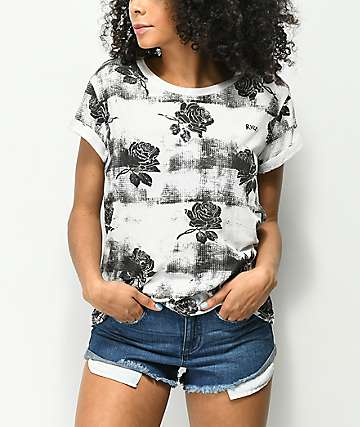 RVCA Oblovers camiseta blanca con patrón de rosas