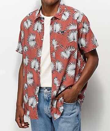RVCA Palms Red Short Sleeve Button Up Shirt