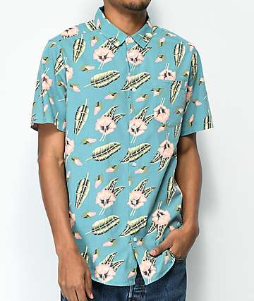 RVCA Pelletier Tropic Blue Short Sleeve Button Up Shirt