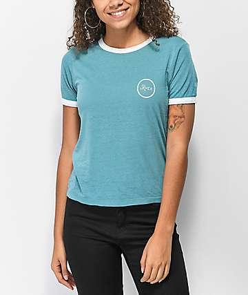 RVCA Pixel Script Bella Ringer Blue T-Shirt