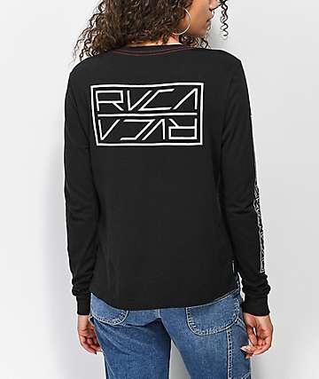RVCA Reflector camiseta negra de manga larga