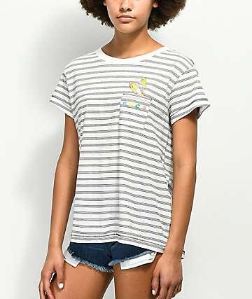 RVCA Rocket Babe camiseta blanca y negra con bolsillo